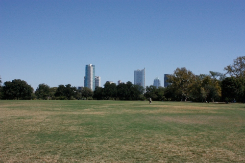 view of downtown from zilker park